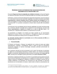 PROGRAMA DE BECAS DE POSGRADO PARA CIUDADANOS MEXICANOS REGLAMENTO DE LA CONVOCATORIA 2017