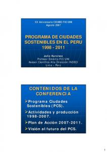 PROGRAMA DE CIUDADES SOSTENIBLES EN EL PERU