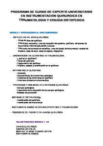 PROGRAMA DE CURSO DE EXPERTO UNIVERSITARIO EN INSTRUMENTACION QUIRURGICA EN TRAUMATOLOGIA Y CIRUGIA ORTOPEDICA