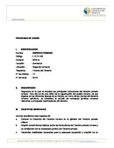 PROGRAMA DE CURSO OBJETIVOS GENERALES