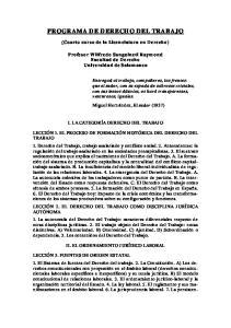 PROGRAMA DE DERECHO DEL TRABAJO