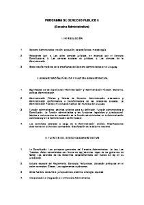 PROGRAMA DE DERECHO PUBLICO II. (Derecho Administrativo)