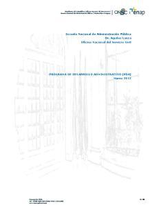 PROGRAMA DE DESARROLLO ADMINISTRATIVO (PDA) Marzo 2013