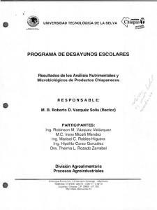 PROGRAMA DE DESAYUNOS ESCOLARES