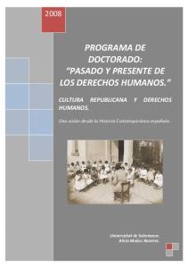 PROGRAMA DE DOCTORADO: PASADO Y PRESENTE DE LOS DERECHOS HUMANOS