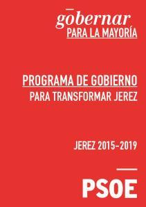 PROGRAMA DE GOBIERNO PARA TRANSFORMAR JEREZ