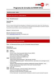 Programa de Jornadas de BIEMH 2016