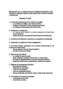 PROGRAMA DE LA ASIGNATURA DE DERECHO PROCESAL DEL TRABAJO. TERCER CURSO DE DIPLOMATURA DE RELACIONES LABORALES