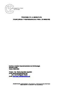 PROGRAMA DE LA ASIGNATURA DELINCUENCIA Y RESPONSABILIDAD PENAL DE MENORES