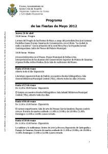 Programa de las Fiestas de Mayo 2012