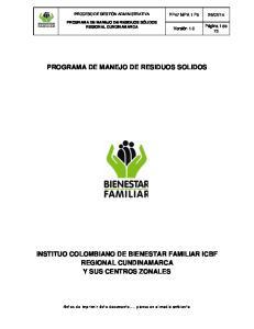 PROGRAMA DE MANEJO DE RESIDUOS SOLIDOS
