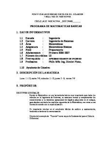 PROGRAMA DE MATEMATICAS BASICAS