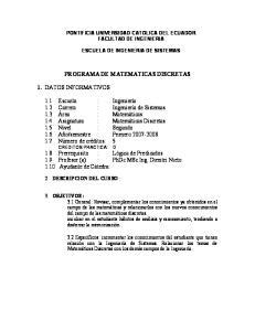 PROGRAMA DE MATEMATICAS DISCRETAS