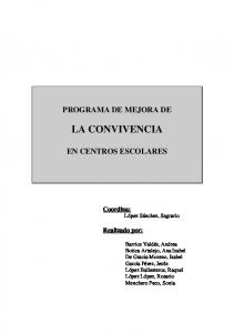 PROGRAMA DE MEJORA DE LA CONVIVENCIA EN CENTROS ESCOLARES