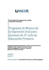 Programa de Mejora de la Expresión Oral para alumnos de 2º ciclo de Educación Primaria