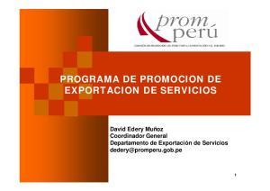 PROGRAMA DE PROMOCION DE EXPORTACION DE SERVICIOS