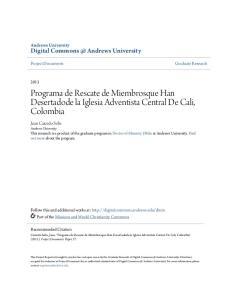 Programa de Rescate de Miembrosque Han Desertadode la Iglesia Adventista Central De Cali, Colombia