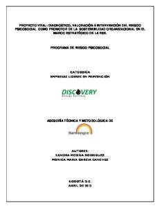 PROGRAMA DE RIESGO PSICOSOCIAL CATEGORÍA EMPRESAS LIDERES EN PREVENCIÓN ASESORÍA TÉCNICA Y METODOLÓGICA DE