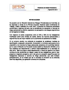 PROGRAMA DE RIESGO PSICOSOCIAL. Versión: 01 Vigencia: INTRODUCCION