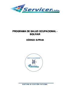PROGRAMA DE SALUD OCUPACIONAL - BOLIVAR
