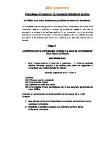 PROGRAMA DE SANIDAD CIUDADANOS REGIÓN DE MURCIA. Bloque I