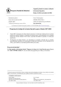 Programa de trabajo de la Junta Ejecutiva para el bienio