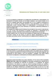 PROGRAMA DE TRABAJO DEL CC SUR PARA 2014