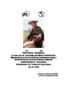 PROGRAMA DE TRABAJO NACIONAL JULIO 2000