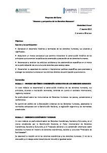 Programa del Curso. Alcances y perspectiva de los Derechos Humanos