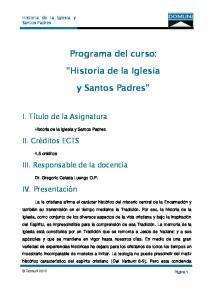 Programa del curso: Historia de la Iglesia. y Santos Padres
