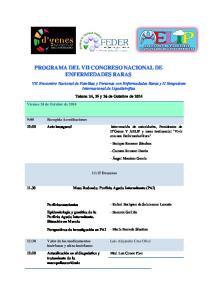 PROGRAMA DEL VII CONGRESO NACIONAL DE ENFERMEDADES RARAS