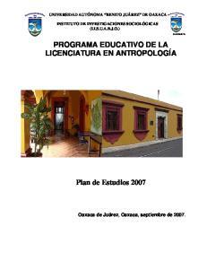 PROGRAMA EDUCATIVO DE LA LICENCIATURA EN ANTROPOLOGÍA