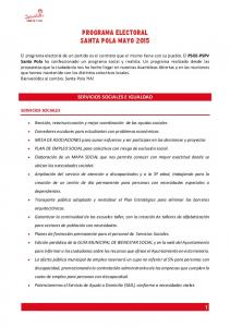 PROGRAMA ELECTORAL SANTA POLA MAYO 2015