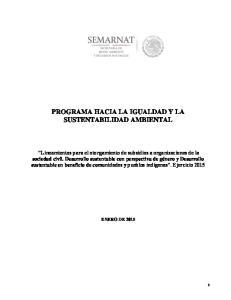PROGRAMA HACIA LA IGUALDAD Y LA SUSTENTABILIDAD AMBIENTAL