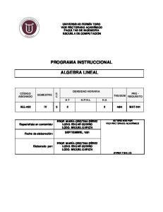 PROGRAMA INSTRUCCIONAL ALGEBRA LINEAL