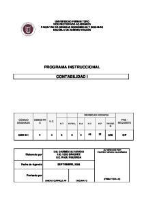 PROGRAMA INSTRUCCIONAL CONTABILIDAD I