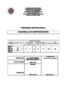 PROGRAMA INSTRUCCIONAL DESARROLLO DE EMPRENDEDORES