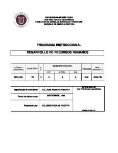 PROGRAMA INSTRUCCIONAL DESARROLLO DE RECURSOS HUMANOS