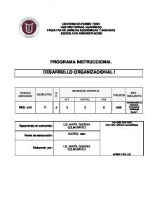 PROGRAMA INSTRUCCIONAL DESARROLLO ORGANIZACIONAL I
