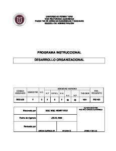 PROGRAMA INSTRUCCIONAL DESARROLLO ORGANIZACIONAL