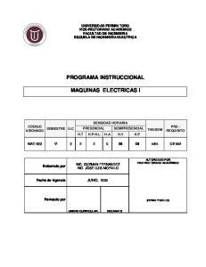 PROGRAMA INSTRUCCIONAL MAQUINAS ELECTRICAS I