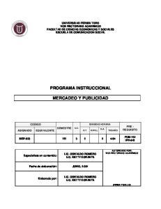 PROGRAMA INSTRUCCIONAL MERCADEO Y PUBLICIDAD