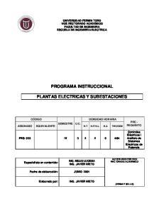 PROGRAMA INSTRUCCIONAL PLANTAS ELECTRICAS Y SUBESTACIONES