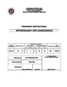 PROGRAMA INSTRUCCIONAL REFRIGERACION Y AIRE ACONDICIONADO