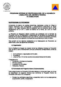 PROGRAMA INTERNO DE PROTECCION CIVIL DE LA ASAMBLEA LEGISLATIVA DEL DISTRITO FEDERAL IV LEGISLATURA