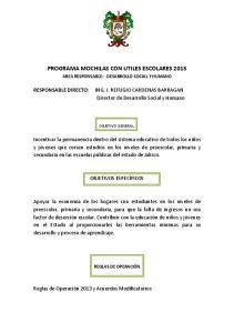 PROGRAMA MOCHILAS CON UTILES ESCOLARES 2013
