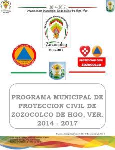 PROGRAMA MUNICIPAL DE PROTECCION CIVIL DE ZOZOCOLCO DE HGO, VER