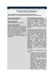 Programa Nacional de Convivencia en los Centros Educativos (CONVIVIR)