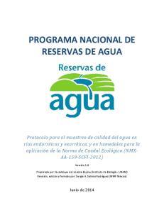 PROGRAMA NACIONAL DE RESERVAS DE AGUA
