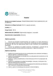 Programa. Nombre de la Unidad Curricular: TRANSFORMACIONES FISICO-QUIMICAS DE LOS ALIMENTOS